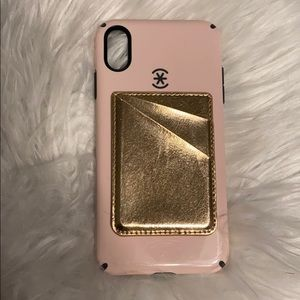 Speck pink iPhone XS Max case w/ stick on wallet